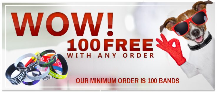 Get 100 Free Wristbands - Order Today